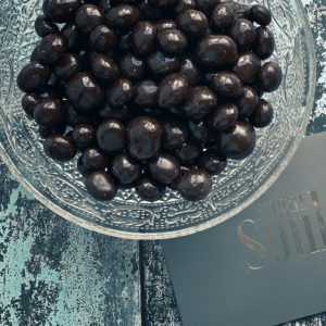 Dark chocolate covered roasted coffee beans